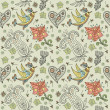 Vector seamless pattern with flower and birds. - ベクター素材ストック