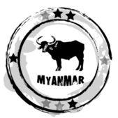Myanmar, grunge rubber stamp. vector — Stock Vector