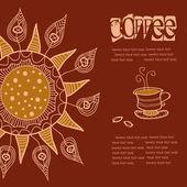 Fondo café, etiqueta — Vector de stock