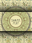 Floral Background with Vintage Label — Stock Vector