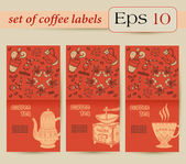Coffee labels. Banner — Vettoriale Stock