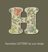 Decorative letters, font with flowers and birds — Stock Vector