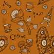 Seamless background. paris, love, coffee — Stockvectorbeeld