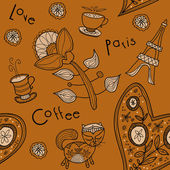 Seamless background. paris, love, coffee — Stock Vector