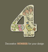 Decorative font numbers with flowers and birds — Stock Vector
