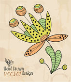 Fleur, motif, dessin de main — Vecteur