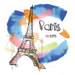 Paris. Eiffel Tower. hand drawing — Stock Vector