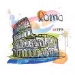 Rome. Coliseum. Italy. hand drawing — Stock Vector