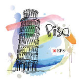 Leaning Tower of Pisa. italy. hand drawing — Vector de stock