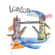 Vector image of london symbols. tower bridge. — Vettoriali Stock