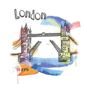 Vector image of london symbols. tower bridge. — Stockvektor