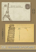 Postcards. France. paris. Eiffel Tower. Italy. Leaning Tower of Pisa. Old paper — Stock Vector