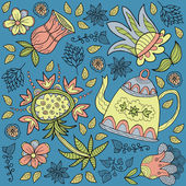 Background with decorative flowers and tea — Stockvektor