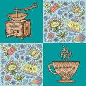 Koffie. thee. achtergrond met bloemen en koffie items — Stockvector