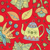 Background with decorative flowers and tea — 图库矢量图片