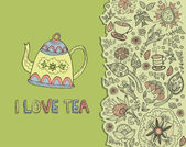 Background tea, I love tea — Vector de stock