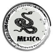 Briefmarke mit schlange, mexiko — Stockvektor