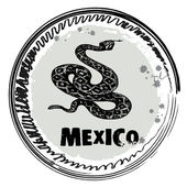 Stamp with snake, Mexico — Vector de stock
