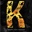 Halloween alphabet letter K — Stock Vector