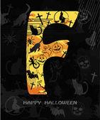 Halloween alfabeto lettera f — Vettoriale Stock