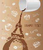 Paris, coffee, love — Stock Vector