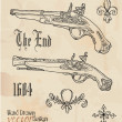 Antique guns, a set of design elements — Stock Vector