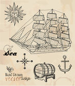 Hand drawn nautical collection — Stock Vector