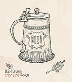 Beer, antique cup — Stock Vector