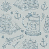 Seamless background with a sailing ship, old weapons and a glass of beer. — Stock Vector