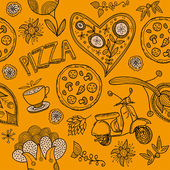 Illustration of pizza background — Stock vektor