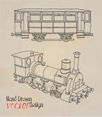 Old locomotive illustration — ストックベクタ