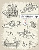 Vintage set of ships — Stock Vector