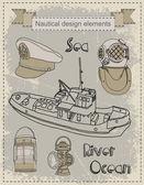 Set schiff — Stockvektor