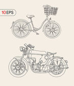 Moto bike and bicycle — 图库矢量图片