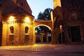 Dumpling Gate at night, Cathedral Island (Ostrow Tumski), Wroclaw, Poland — Stock fotografie
