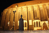 Cardinal Boleslaw Kominek Monument at night, Sand Island, Wroclaw, Poland — Stock Photo