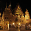 Stock Photo: Old city hall in Wroclaw at night, Poland