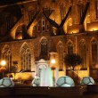 Church and the fountain at night, Wroclaw, Poland - Stock Photo