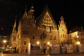 Old city hall in Wroclaw at night, Poland — Stock Photo