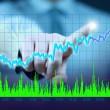 Businessman hand touch virtual stock graph, chart, diagram — Stock Photo