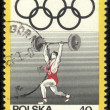 POLAND - CIRC1969 post stamp printed in Poland shows weight kifter, series, circ1969 — Stockfoto #21255469