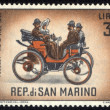 Stock Photo: SAN MARINO - CIRC1961 stamp printed by SMarino, shows old auto, circ1961.