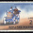 SAN MARINO - CIRC1962 stamp printed in SMarino shows Old auto with inscription Panhard & Levassor, 1895 from series Old auto, circ1962 — Stock Photo #21256529