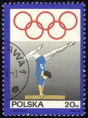 Polen - visar omkring 1969 en stämpel tryckt i polen gymnast på barr, omkring 1969 — Stockfoto