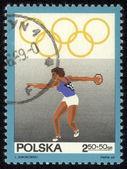 POLAND - CIRCA 1969 stamp printed by Poland, shows Olympic Rings, circa 1969 — Stok fotoğraf