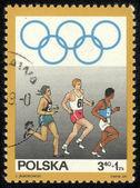波兰-大约 1969年邮票由波兰,打印的时候显示竞争赛跑者,大约 1969 — 图库照片