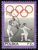Polska - ok. 1969 r. znaczek wydrukowany przez polskę, pokazuje ogrodzenia, ok. 1969 — Zdjęcie stockowe
