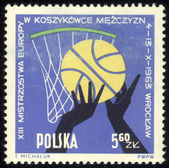 POLAND - CIRCA 1963: Various positions of ball, hands and players. Town Hall, Peoples Hall and Arms of Wroclaw, circa 1963 — Foto Stock