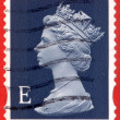 UNITED KINGDOM - CIRCA 2000 to 2003 An English Used First Class Postage Stamp showing Portrait of Queen Elizabeth 2nd, circa 2000 to 2003 — Stock Photo