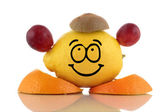 Friendly diet. Funny fruit collection on white background — Stock Photo